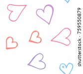 pink hearts seamless pattern.... | Shutterstock .eps vector #759550879