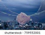 business man handshake on night ... | Shutterstock . vector #759552001
