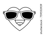 cute heart with sunglasses... | Shutterstock .eps vector #759553939