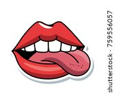 pop art lips with tongue out | Shutterstock .eps vector #759556057