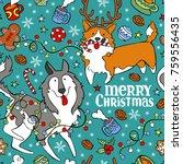 merry christmas. dogs  husky... | Shutterstock .eps vector #759556435