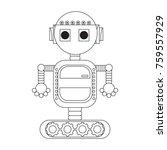 cartoon robot icon over white... | Shutterstock .eps vector #759557929