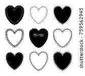 hand drawn shape hearts sticker ... | Shutterstock .eps vector #759562945