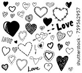 set of heart doodles. hand... | Shutterstock .eps vector #759562957