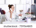 attractive business woman... | Shutterstock . vector #759564805