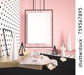 3d render mock up scene with... | Shutterstock . vector #759567895