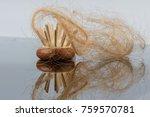 hairbrush with hair | Shutterstock . vector #759570781