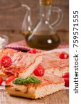italian pizza with cheese ... | Shutterstock . vector #759571555