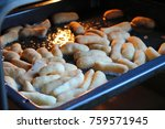 baking dough with butter in the ... | Shutterstock . vector #759571945
