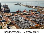 port terminal with a lot of new ... | Shutterstock . vector #759575071