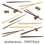 brown and unpainted chopsticks... | Shutterstock . vector #759575161