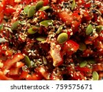 bright tomato salad with... | Shutterstock . vector #759575671
