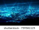 abstract line connection over... | Shutterstock . vector #759581125