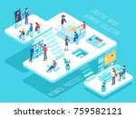 people work in a team and... | Shutterstock .eps vector #759582121