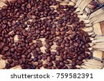 roasted coffee beans in an... | Shutterstock . vector #759582391