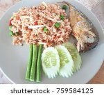 rice mixed with shrimp and... | Shutterstock . vector #759584125