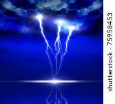 Image Of Lightning On A Dark...