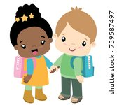 school boy and girl holding... | Shutterstock .eps vector #759587497