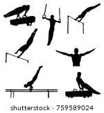 set men athletes gymnasts in... | Shutterstock .eps vector #759589024