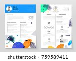 personal cv  set of modern... | Shutterstock .eps vector #759589411