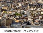 paris rooftops in summer with... | Shutterstock . vector #759592519