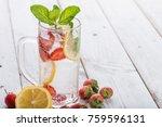 strawberry juice and lemon soda ...   Shutterstock . vector #759596131