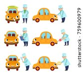 funny old doctor helping ... | Shutterstock .eps vector #759600979