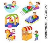 set of kids in amusement park ... | Shutterstock .eps vector #759601297
