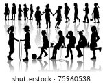 nineteen silhouettes  of... | Shutterstock .eps vector #75960538