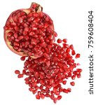 cut the pomegranate with... | Shutterstock . vector #759608404
