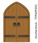 Old Wooden Door Vector...