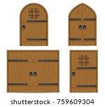Old Wooden Door Vector...