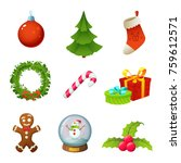 christmas objects collection... | Shutterstock .eps vector #759612571