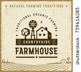 vintage countryside farmhouse... | Shutterstock .eps vector #759616285