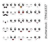 cartoon kawaii eyes and mouths. ... | Shutterstock .eps vector #759616537