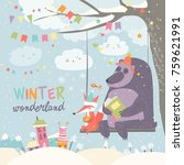 funny bear and fox swinging in... | Shutterstock .eps vector #759621991