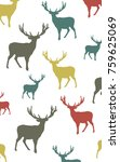 seamless colorful vector deer... | Shutterstock .eps vector #759625069