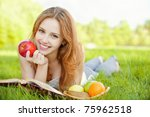 a beautiful young girl with an... | Shutterstock . vector #75962518