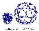 Small photo of Collapsible purple and green color sphere isolated on a white background.