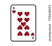 nine of hearts french playing... | Shutterstock .eps vector #759628351