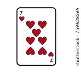 seven of hearts french playing... | Shutterstock .eps vector #759628369