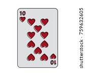 ten of hearts french playing... | Shutterstock .eps vector #759632605