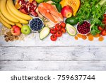 background of healthy food for...   Shutterstock . vector #759637744