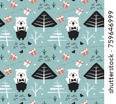 winter seamless pattern with... | Shutterstock .eps vector #759646999
