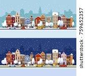 winter city. christmas... | Shutterstock .eps vector #759652357