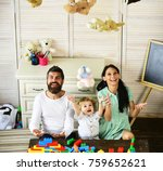 parents and son with happy... | Shutterstock . vector #759652621