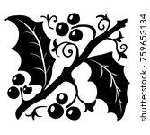 vintage holly leaf pattern ... | Shutterstock .eps vector #759653134