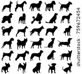 set of dogs  black silhouettes... | Shutterstock .eps vector #759672454