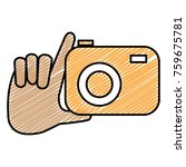 hand with photographic camera... | Shutterstock .eps vector #759675781