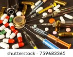 sales of narcotics. weapon and... | Shutterstock . vector #759683365